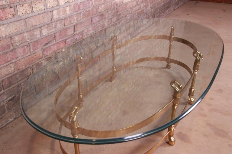 Labarge Hollywood Regency Brass and Glass Swan Motif Cocktail Table, Circa 1960s For Sale 4