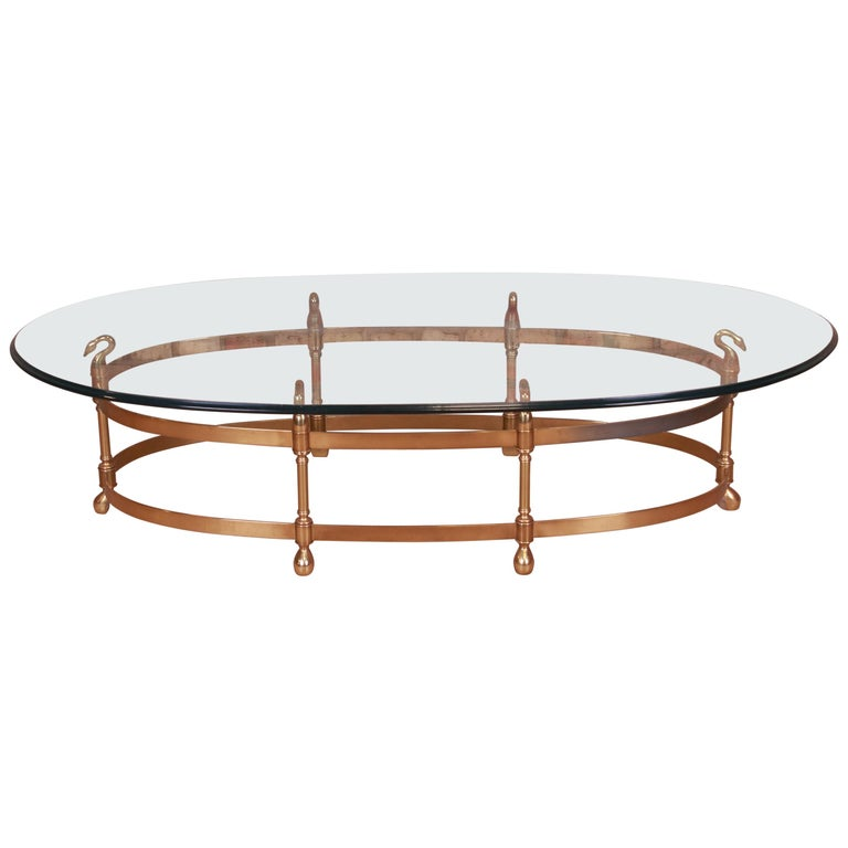 Labarge Hollywood Regency Brass and Glass Swan Motif Cocktail Table, Circa 1960s For Sale