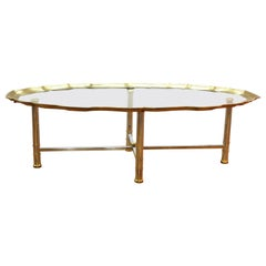 Labarge Hollywood Regency Oval Coffee table With Scalloped Edge