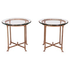 Labarge Italian Hollywood Regency Brass and Glass Side Tables with Hooved Feet