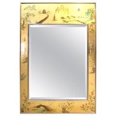 Labarge Midcentury Reverse-Painted Eglomise Beveled Mirror