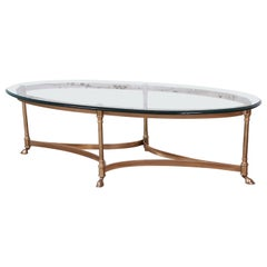 Labarge Midcentury Hollywood Regency Brass and Glass Hooved Feet Cocktail Table