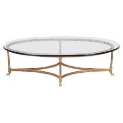 Labarge Midcentury Hollywood Regency Brass and Glass Hooved Feet Coffee Table