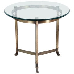 Labarge Midcentury Hollywood Regency Brass and Glass Hooved Feet Side Table