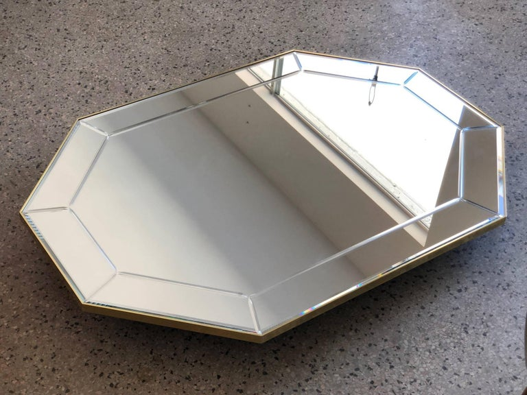 Modern LaBarge Octagonal Mirror in Brass Frame For Sale