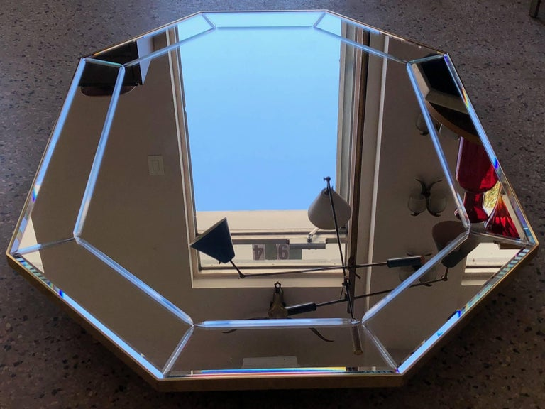 American LaBarge Octagonal Mirror in Brass Frame For Sale