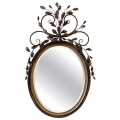 LaBarge Oval Adam Style Wood and Italian Metal Beveled Mirror