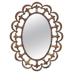 Labarge Regency Fleur-de-Lis Oval Wall Mirror Solid Brass Subtle Ornate Detail