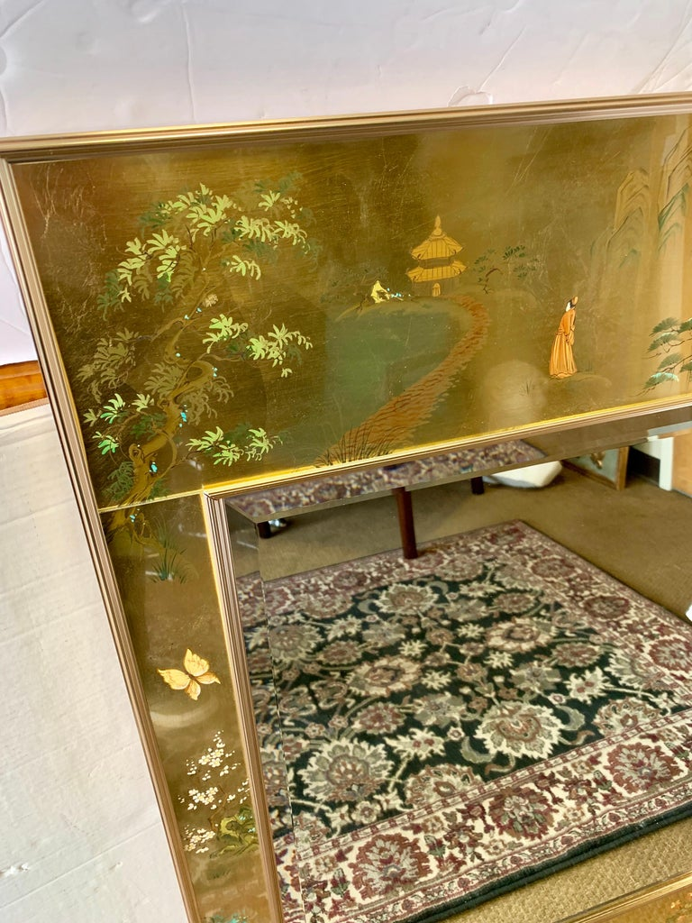 Chinoiserie LaBarge Signed Mirror Gold Leaf Eglomise Signed For Sale