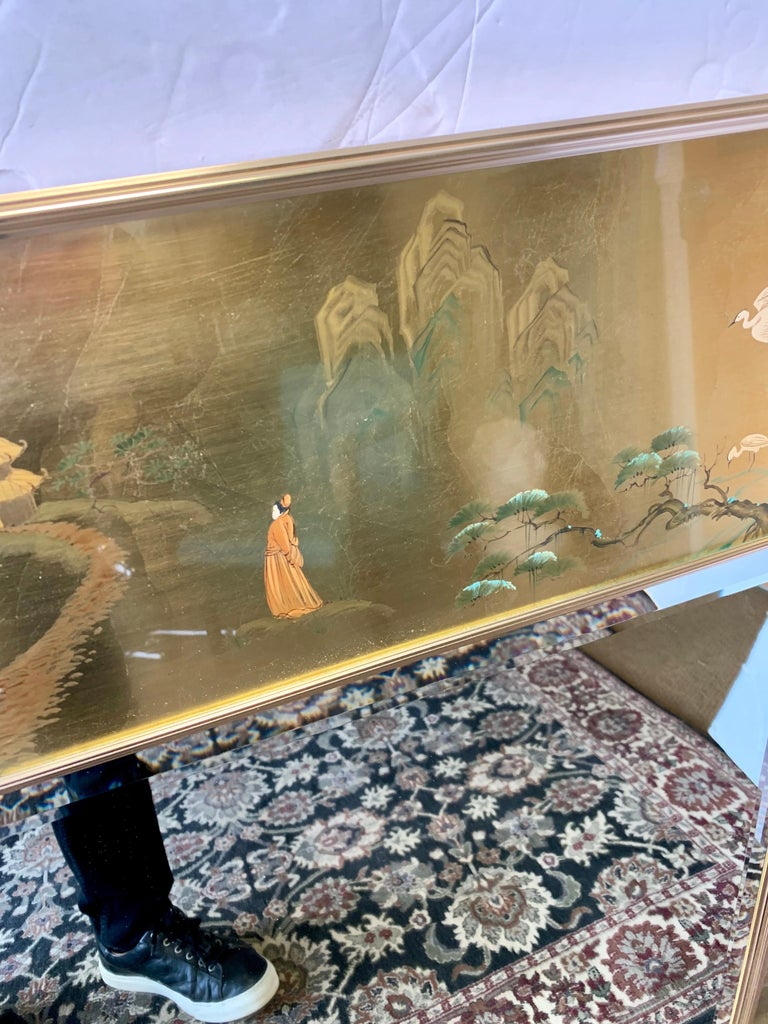 LaBarge Signed Mirror Gold Leaf Eglomise Signed In Good Condition For Sale In West Hartford, CT
