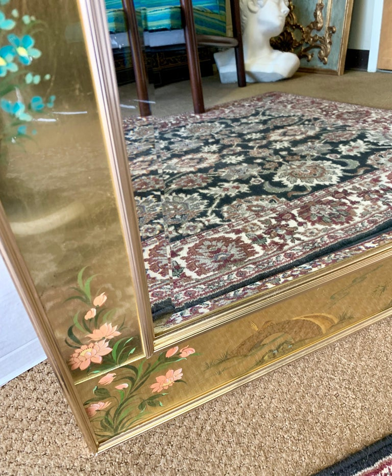 Late 20th Century LaBarge Signed Mirror Gold Leaf Eglomise Signed For Sale