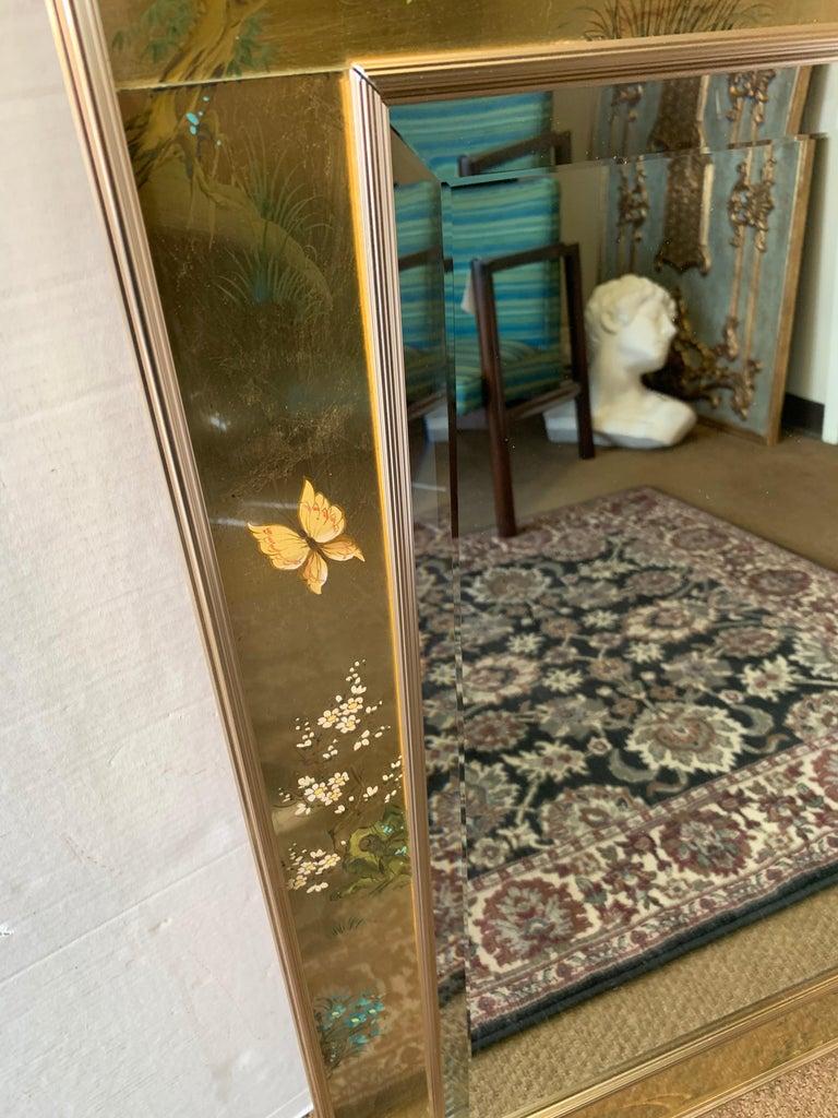 LaBarge Signed Mirror Gold Leaf Eglomise Signed For Sale 1