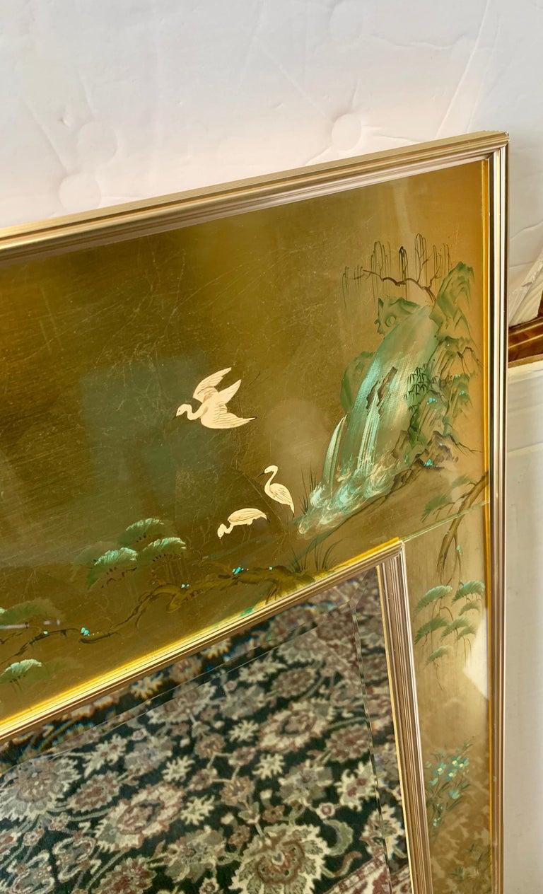 LaBarge Signed Mirror Gold Leaf Eglomise Signed For Sale 2