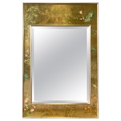 LaBarge Signed Mirror Gold Leaf Eglomise Signed