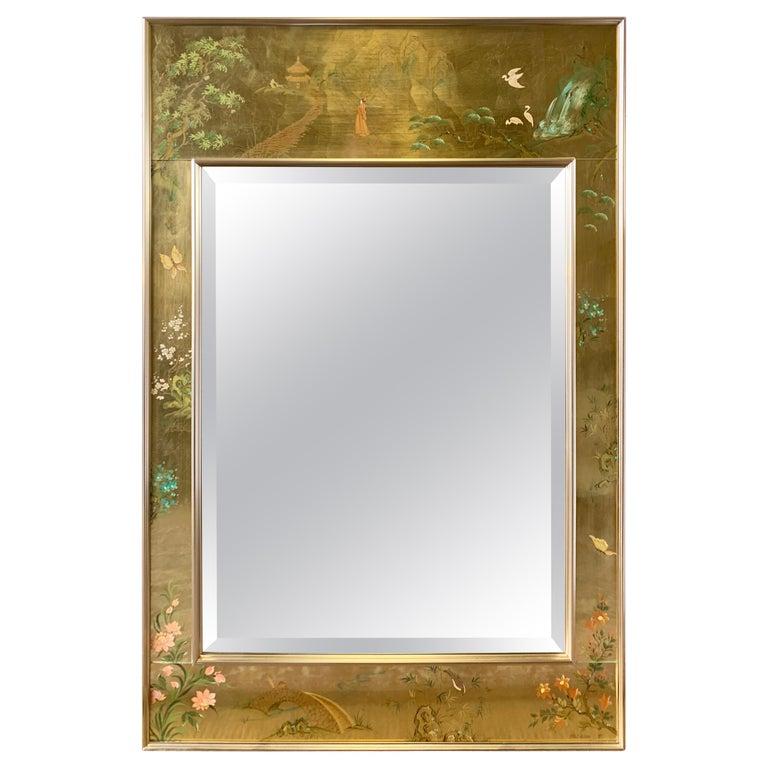 LaBarge Signed Mirror Gold Leaf Eglomise Signed For Sale