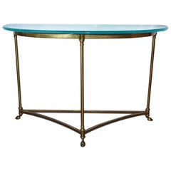 Labarge Style Hoof Footed Brass Demilune Console Table