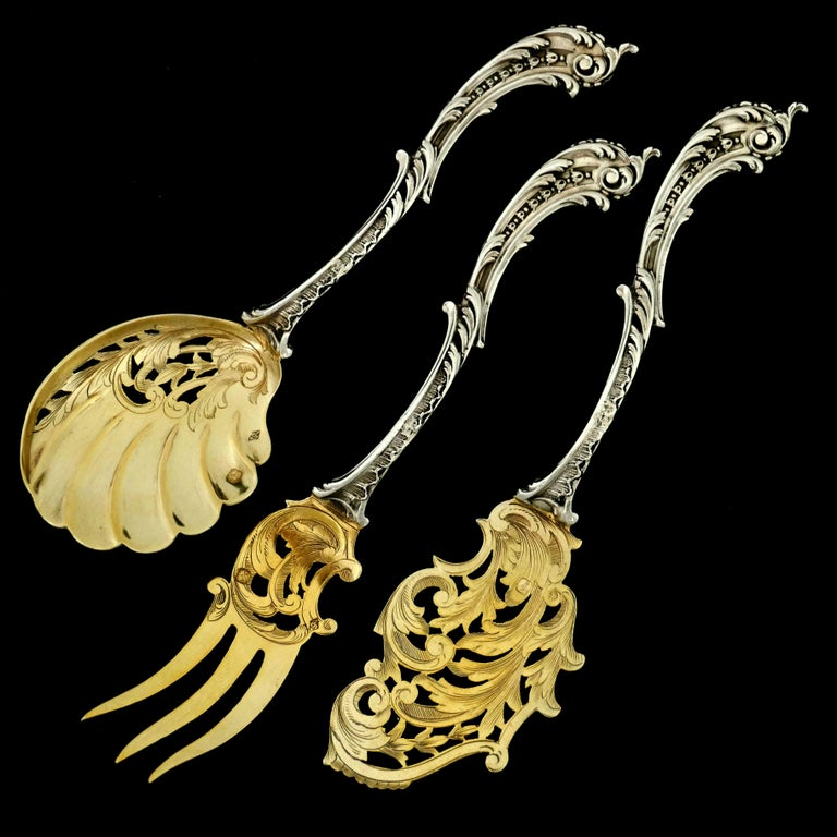 Labat French All Sterling Silver 18-Karat Gold Dessert Set Asymmetrical Rococo In Good Condition In TRIAIZE, PAYS DE LOIRE