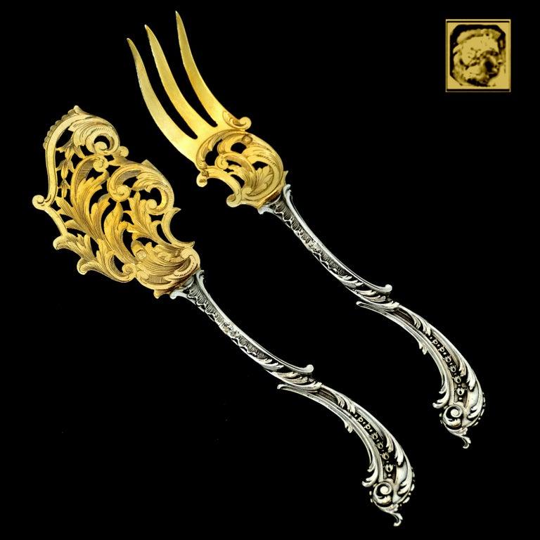 Labat French All Sterling Silver 18-Karat Gold Dessert Set Asymmetrical Rococo 5