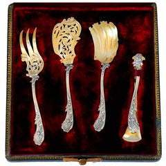 Labat French Sterling Silver 18-Karat Gold Hors D'oeuvre Dessert Set 4 Pc Box