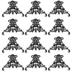 Labat Rare French All Sterling Silver Knife Rests Set of 12 Pieces, Mascaron