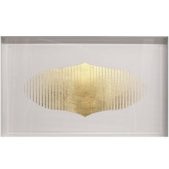 Label Gold Leafed Handmade Artwork on Cotton Rag Paper, Wall Hung Art