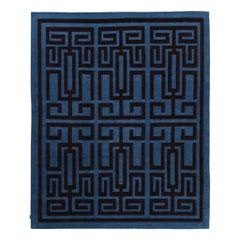 Labirinto Blue and Black Carpet by Gio Ponti
