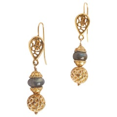 Labradorite 14K Gold Ornate Earrings