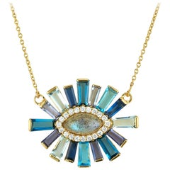 Labradorite and Diamond Halo Luminous Necklace 18 Karat Gold
