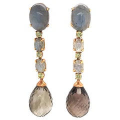 Labradorite and Smoky Quartz with Yellow Sapphire on Yellow Gold Dangle Earrings
