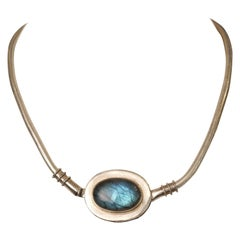Labradorite and Sterling Silver Snake Chain Necklace