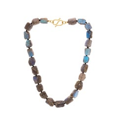 Labradorite Beaded Necklace with Blue Iridescent Flashes and 22 Gold Clasp