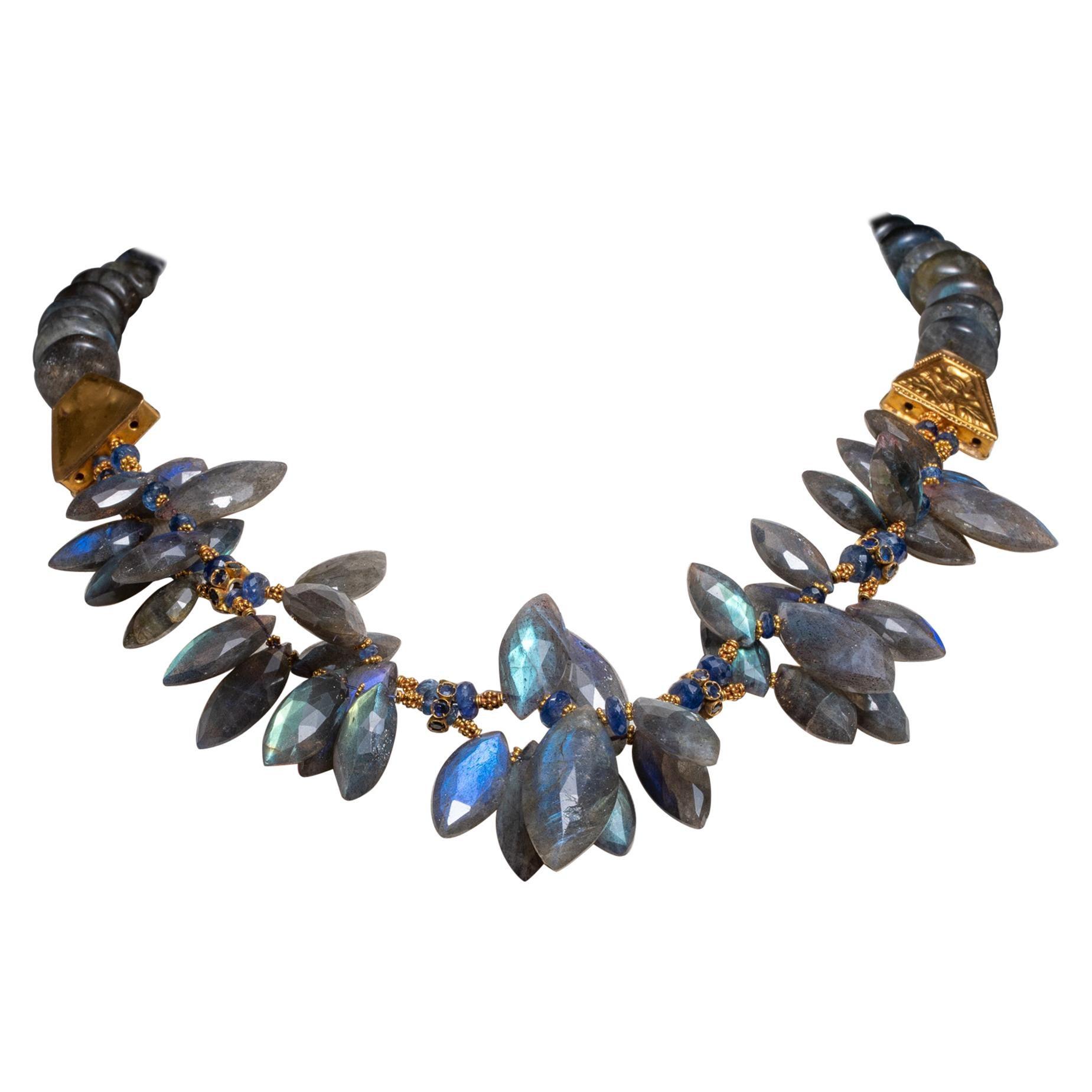 Labradorite, Blue Sapphire 22K Gold Beaded Necklace by Deborah Lockhart Phillips