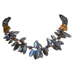 Labradorite, Blue Sapphire 22K Gold Beaded Necklace by Deborah Lockhart Phillips