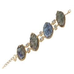 Labradorite Carving Bracelet with 2.41 Carat Diamonds and 20 Karat Yellow Gold