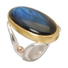 Labradorite Cocktail Ring in Silver, 22 Karat Gold and Rose Gold