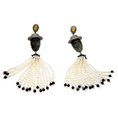 Labradorite Dancing Skeleton with Diamonds Pearls and Onyx