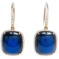Labradorite Diamond and 14 Karat Gold Earrings