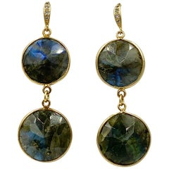 Labradorite Diamond Dangle Drop Earrings