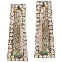 Labradorite & Diamond Halo Elongated Tapered Baguette Stud Earrings
