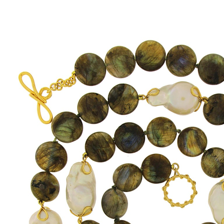Women's Labradorite Disk Freshwater Pearl Gold Necklace For Sale