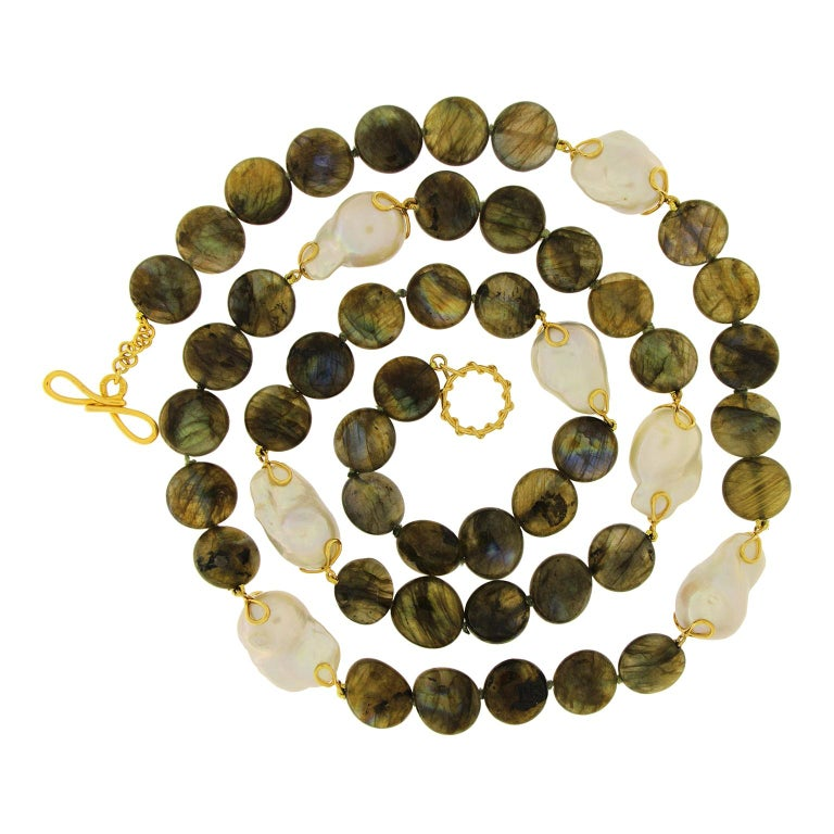 Labradorite Disk Freshwater Pearl Gold Necklace For Sale