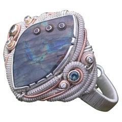 Labradorite Garnet Montana Sapphires Diamond 14 Karat Gold Wire Wrapped Bracelet
