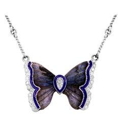 Labradorite Gold and Diamond Butterfly Pendant Necklace Purple Enamel Stambolian