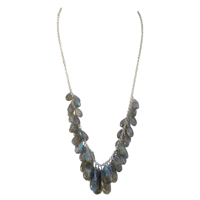 Labradorite Multi-Briolette Dangle Necklace in Sterling Silver