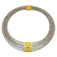 Labradorite Raw Diamond Silver Gold Plate Multi-Strand Beaded Hand Made Necklace