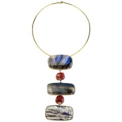 Labradorite Red Italian Coral 18 Karat Gold Pendant Necklace