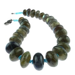 Labradorite Rondelle Graduated Choker Necklace