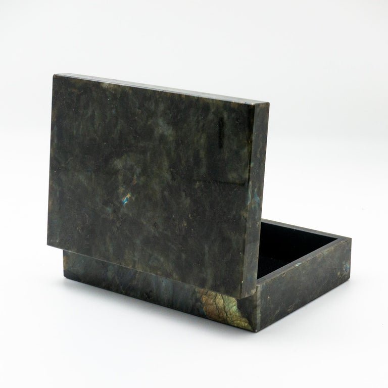 Grand Tour Labradorite Semi Precious Stone Box with Hinged Lid For Sale