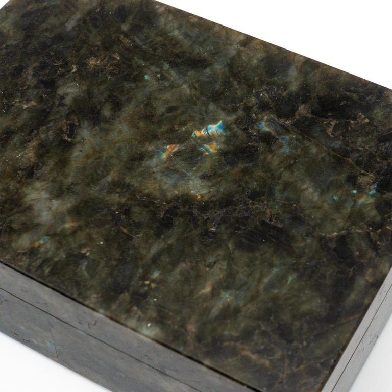 Labradorite Semi Precious Stone Box with Hinged Lid In Excellent Condition For Sale In New York, NY