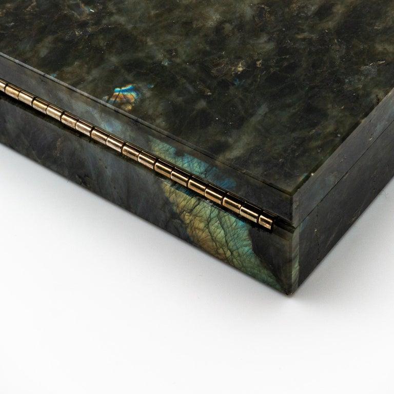 Contemporary Labradorite Semi Precious Stone Box with Hinged Lid For Sale